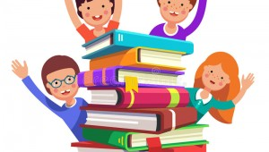 smart-kids-waving-hands-book-pile-happy-reading-gives-knowledge-concept-colorful-flat-style-cartoon-vector-82349036